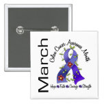Colon Cancer Awareness Month Flower Ribbon 1 Pinback Buttons