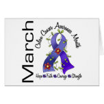 Colon Cancer Awareness Month Flower Ribbon 1 Greeting Cards