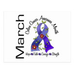 Colon Cancer Awareness Month Flower Ribbon 1 Post Cards