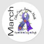 Colon Cancer Awareness Month Flower Ribbon 1 Stickers