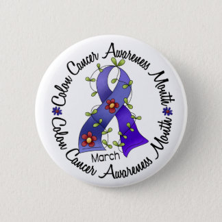 Colon Cancer Awareness Month Flower Ribbon 3 Button