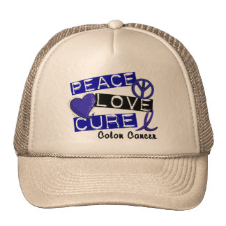 Colon Cancer Awareness PEACE LOVE CURE 1 Trucker Hats
