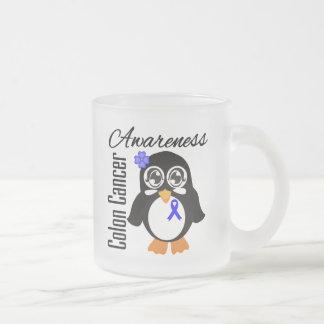 Colon Cancer Awareness Penguin 10 Oz Frosted Glass Coffee Mug
