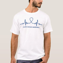 Colon Cancer Awareness Ribbon Heartbeat T-Shirt