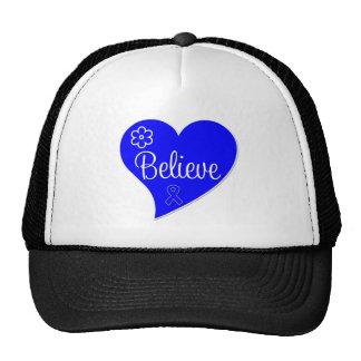 Colon Cancer Believe Heart Trucker Hats