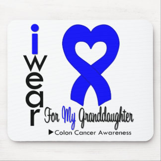 Colon Cancer Blue Heart Ribbon For Granddaughter Mouse Mats