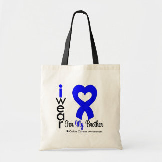 Colon Cancer Blue Heart Ribbon For My Brother Canvas Bags