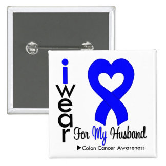 Colon Cancer Blue Heart Ribbon For My Husband 2 Inch Square Button