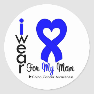 Colon Cancer Blue Heart Ribbon For My Mom Classic Round Sticker