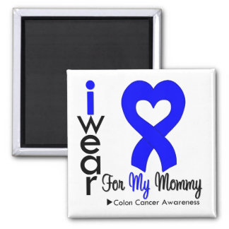 Colon Cancer Blue Heart Ribbon For My Mommy 2 Inch Square Magnet