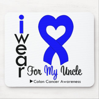 Colon Cancer Blue Heart Ribbon For My Uncle Mouse Mats