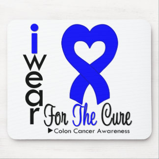 Colon Cancer Blue Heart Ribbon For The Cure Mouse Mat