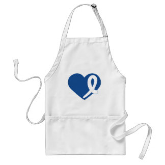 Colon Cancer Blue Heart with Ribbon apron
