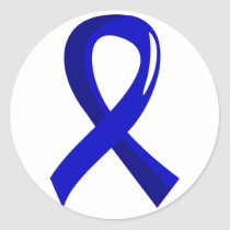 Colon Cancer Blue Ribbon 3 Classic Round Sticker