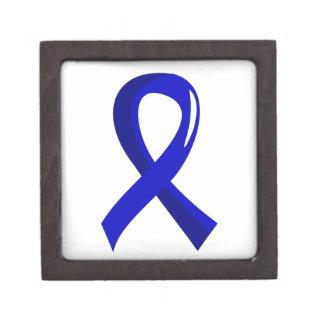 Colon Cancer Blue Ribbon 3 Premium Trinket Box