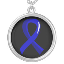 Colon Cancer Blue Ribbon 3 Silver Plated Necklace