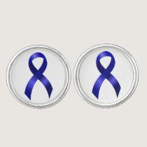 Colon Cancer Blue Ribbon Cufflinks