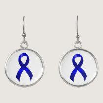 Colon Cancer Blue Ribbon Earrings