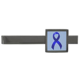 Colon Cancer Blue Ribbon Gunmetal Finish Tie Clip