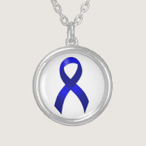 Colon Cancer Blue Ribbon Silver Plated Necklace