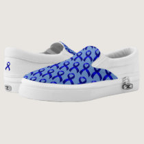 Colon Cancer Blue Ribbon Slip-On Sneakers
