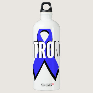 Colon Cancer Blue Ribbon Strong Aluminum Water Bottle