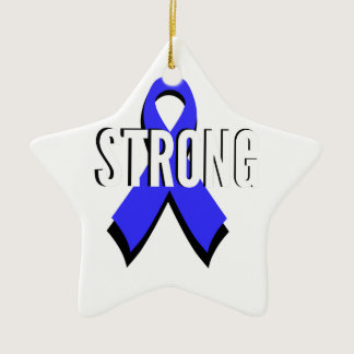 Colon Cancer Blue Ribbon Strong Ceramic Ornament