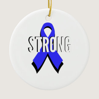 Colon Cancer Blue Ribbon Strong Ceramic Ornament