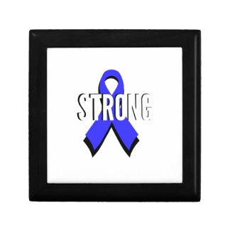 Colon Cancer Blue Ribbon Strong Jewelry Boxes