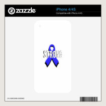 Colon Cancer Blue Ribbon Strong iPhone 4 Decals