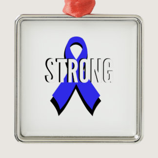 Colon Cancer Blue Ribbon Strong Metal Ornament