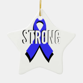 Colon Cancer Blue Ribbon Strong Double-Sided Star Ceramic Christmas Ornament