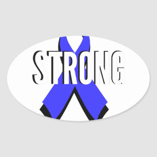Colon Cancer Blue Ribbon Strong Oval Sticker
