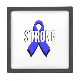 Colon Cancer Blue Ribbon Strong Premium Jewelry Boxes