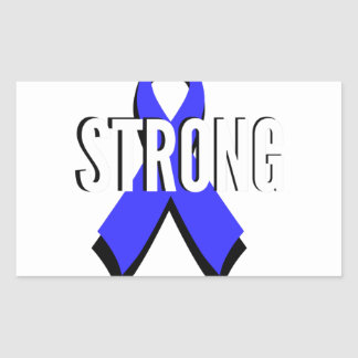 Colon Cancer Blue Ribbon Strong Rectangular Sticker