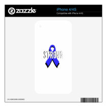 Colon Cancer Blue Ribbon Strong Skin For iPhone 4S