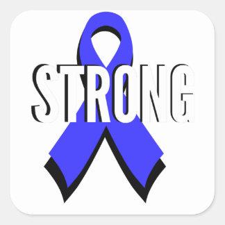Colon Cancer Blue Ribbon Strong Square Sticker