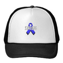 Colon Cancer Blue Ribbon Strong Trucker Hat