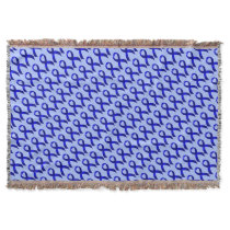 Colon Cancer Blue Ribbon Throw Blanket