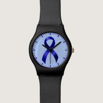 Colon Cancer Blue Ribbon Watch