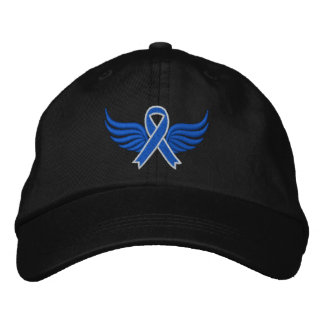 Colon Cancer Blue Ribbon Wings Embroidered Baseball Cap