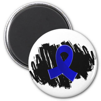 Colon Cancer Blue Ribbon With Scribble 2 Inch Round Magnet