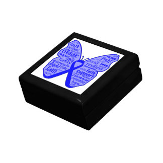 Colon Cancer Butterfly Collage of Words Keepsake Boxes
