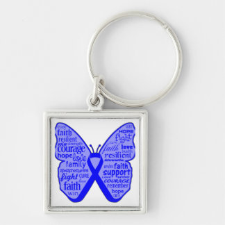 Colon Cancer Butterfly Collage of Words Silver-Colored Square Keychain