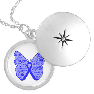 Colon Cancer Butterfly Collage of Words Round Locket Necklace