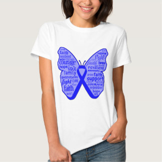 Colon Cancer Butterfly Collage of Words Tee Shirt