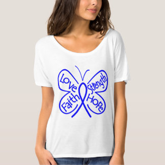 Colon Cancer Butterfly Inspiring Words Tshirt