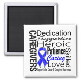 Colon Cancer Caregivers Collage 2 Inch Square Magnet