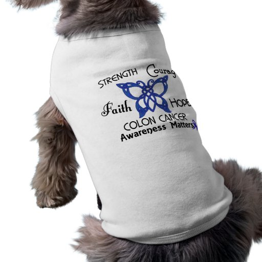 Colon Cancer Celtic Butterfly 3 Dog T-shirt
