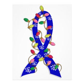 "Colon Cancer Christmas Lights Ribbon 8.5"" X 11"" Flyer"